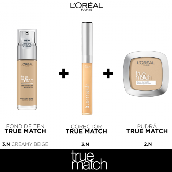 Set machiaj clasic TRUE Match L`oreal Paris, nuanta Creamy Beige 0