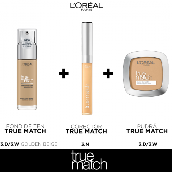 Set machiaj clasic TRUE Match L`oreal Paris, nuanta Golden Beige 0