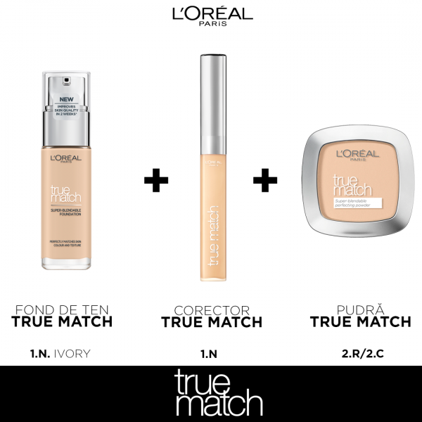 Set machiaj clasic TRUE Match L`oreal Paris, nuanta Ivory 0