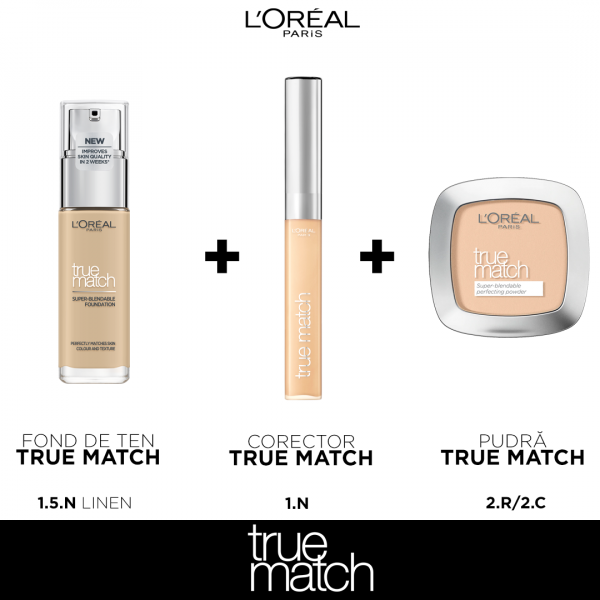 Set machiaj clasic TRUE Match L`oreal Paris, nuanta Linen 0