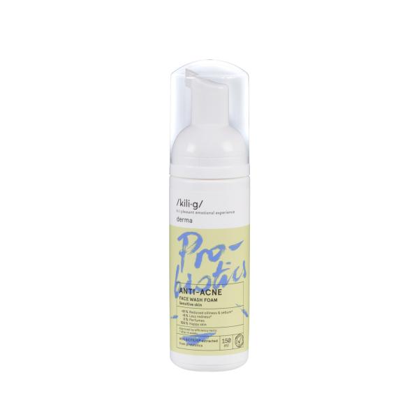 Spuma de curatare faciala cu probiotice pentru ten sensibil si acneic KILI⋅G DERMA 150 ml 0