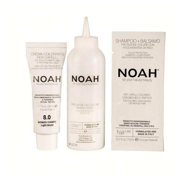 Vopsea de par naturala Blond deschis8.0 Noah 140 ml 1