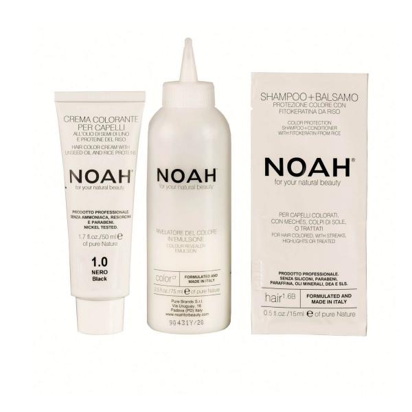 Vopsea de par naturala Negru 1.0 Noah 140 ml 1