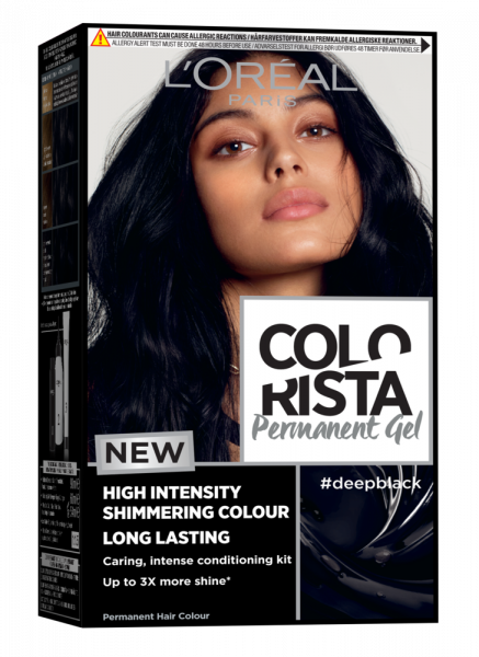 Vopsea gel permanenta Colorista 204 ml, nuanta  DEEP BLACK 0