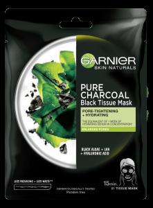 Set 20x Masca servetel cu alge negre pentru purificare, Pure Charcoal Skin Naturals - 28 g [1]