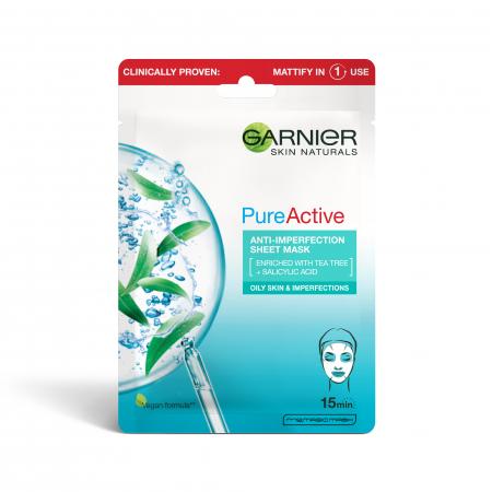 Masca servetel anti-imperfectiuni si hidratare, Skin Naturals Pure Active 23 g