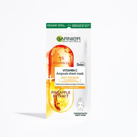 Masca servetel Ampoule Anti-fatigue cu Ananas si vitamina Cg Skin Naturals 15 g
