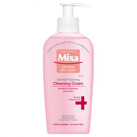 Crema de curatare Mixa spumanta pentru pielea sensibila, predispusa la roseata, 200 ml