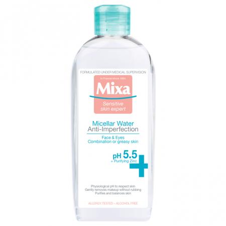 Apa micelara Mixa Anti-Imperfectiuni pentru tenul mixt, cu tendinta de ingrasare, 400 ml