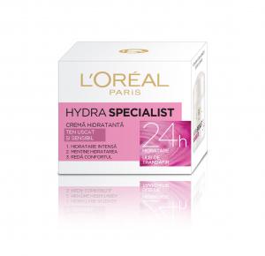 Crema hidratanta de fata  L'Oreal Paris Hydra Specialist, pentru ten uscat si sensibil