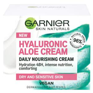 Crema hidratanta de zi Garnier cu acid hialuronic si aloe vera pentru ten uscat si sensibil, 50 ml