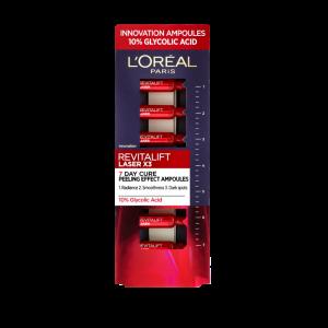 Fiole cu acid glicolic 10% L`Oreal Paris Revitalift Laser, 7 x 1ml0