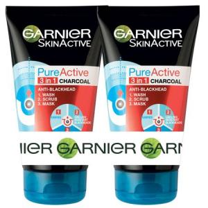 Pachet 2x Gel de curatare pentru fata 3 în 1 Garnier Pure Active Charcoal pentru ten gras cu imperfectiuni, 150 ml0