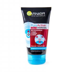 Pachet 2x Gel de curatare pentru fata 3 în 1 Garnier Pure Active Charcoal pentru ten gras cu imperfectiuni, 150 ml1