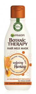 Masca reparatoare Botanic Therapy Milk Mask Honey cu textura lejera de lapte pentru par deteriorat cu varfuri despicate, 250ml