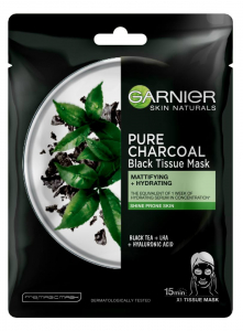 Set 5x Masca servetel Garnier Pure Charcoal cu ceai negru, pentru matifiere1