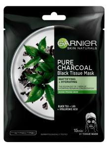 Pachet 5x Masca servetel Garnier Pure Charcoal cu ceai negru, pentru matifiere [1]