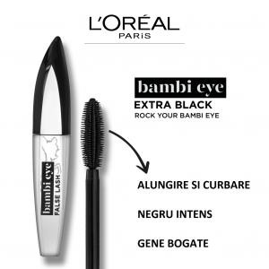 Mascara L`Oreal Paris Bambi cu efect de gene false, extra black 8,9ml2