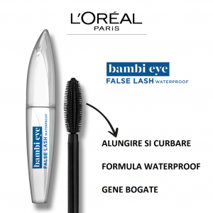 Mascara L`Oreal Paris Bambi cu efect de gene false, waterproof 8,9ml2