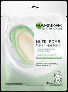 Masca servetel Nutribomb Garnier cu lapte de migdale si acid hialuronic pentru nutritie intensa si reparare, 28g