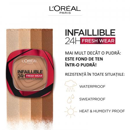 Pudra Compacta Infaillible 24H Fresh Wear Powder 130 True Beige [8]