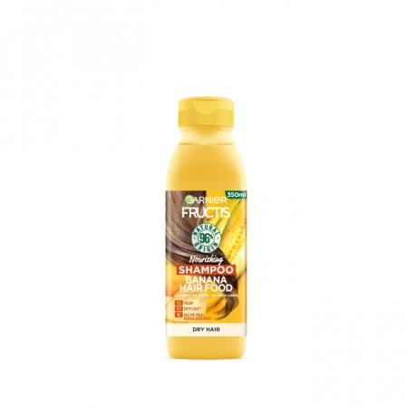 Sampon Banana pentru parul uscat Fructis Hair Food, 350 ml