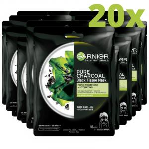 Set 20x Masca servetel cu alge negre pentru purificare, Pure Charcoal Skin Naturals - 28 g [0]