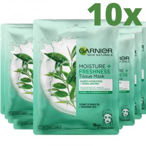 Set 10x Masca Servetel Garnier Moisture+ cu ceai verde, pentru reimprospatare [0]
