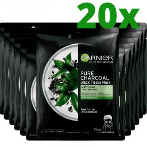 Set Black Friday 20x Masca servetel Pure Charcoal cu ceai negru, pentru matifiere - 28 g [0]