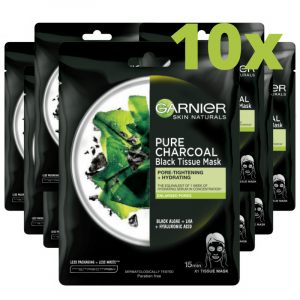 Set 10x Masca servetel cu alge negre pentru purificare, Pure Charcoal Skin Naturals - 28 g [0]