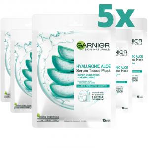 Pachet 5x Masca servetel cu aloe vera si acid hialuronic Garnier pentru super hidratare si revitalizare, 28g [0]