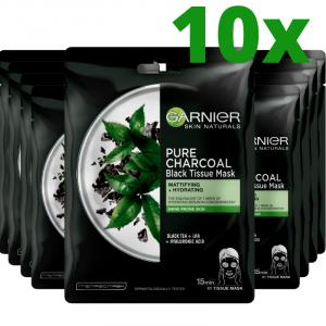 Pachet 10x Masca servetel Garnier Pure Charcoal cu ceai negru, pentru matifiere [0]