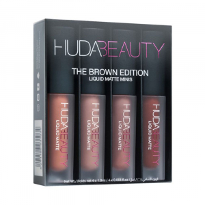 Set 4 Mini Rujuri Lichide Mate Huda Minis -  The Brown Edition0