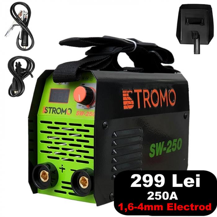 Aparat de sudura invertor STROMO SW 250 , 250 A, accesorii incluse, electrod 1.6-4mm [0]