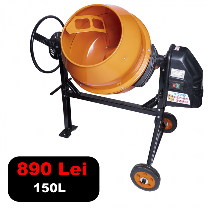 Betoniera semi-profesionala Temp, 850 W, 150 L [0]