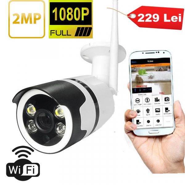 Camera de supraveghere WIFI,Full HD 1080p, de exterior, Night vision, senzor miscare, alb [0]