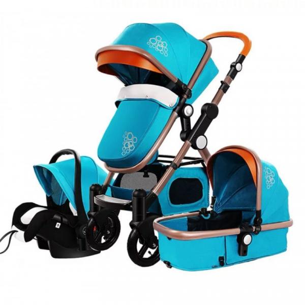 Carucior multifunctional 3 in 1, dubla suspensie, modul scoica inclus, maner reversibil, Golden Baby T800 (albastru) [0]
