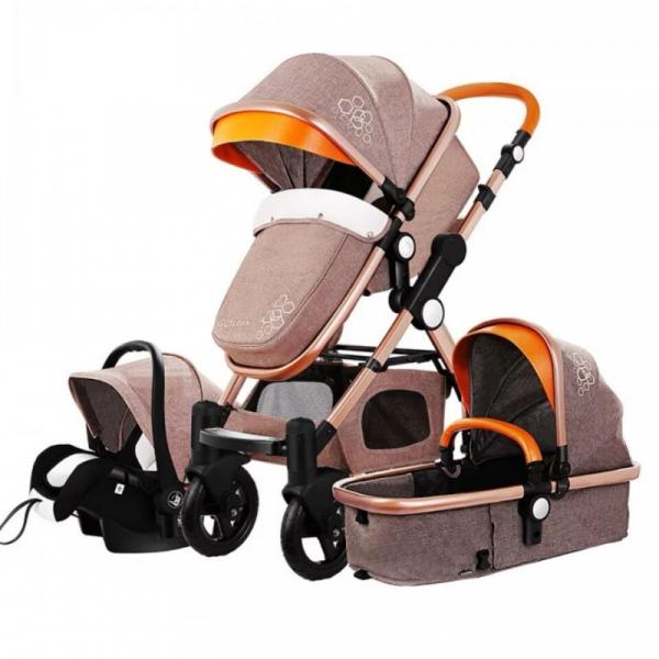 Carucior multifunctional 3 in 1, dubla suspensie, modul scoica inclus, maner reversibil, Golden Baby T800 (cafeniu) [0]