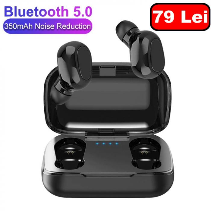 Casti Wireless TWS L21, Bluetooth 5.0, Cutie Incarcare [0]