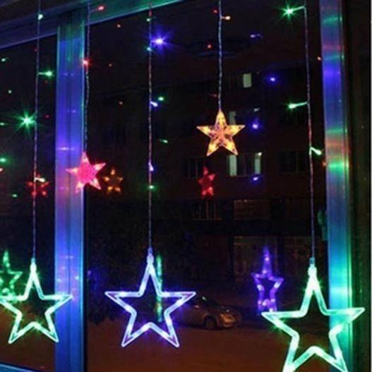 Instalatie Craciun,perdea,fulgi si stele,joc de lumini multicolor 3 m [0]