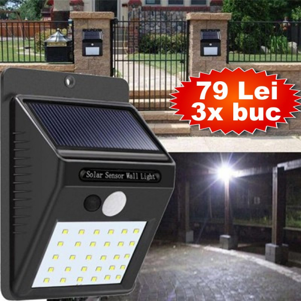 Pachet 3 Lampi solare cu senzor miscare - 30LED [0]