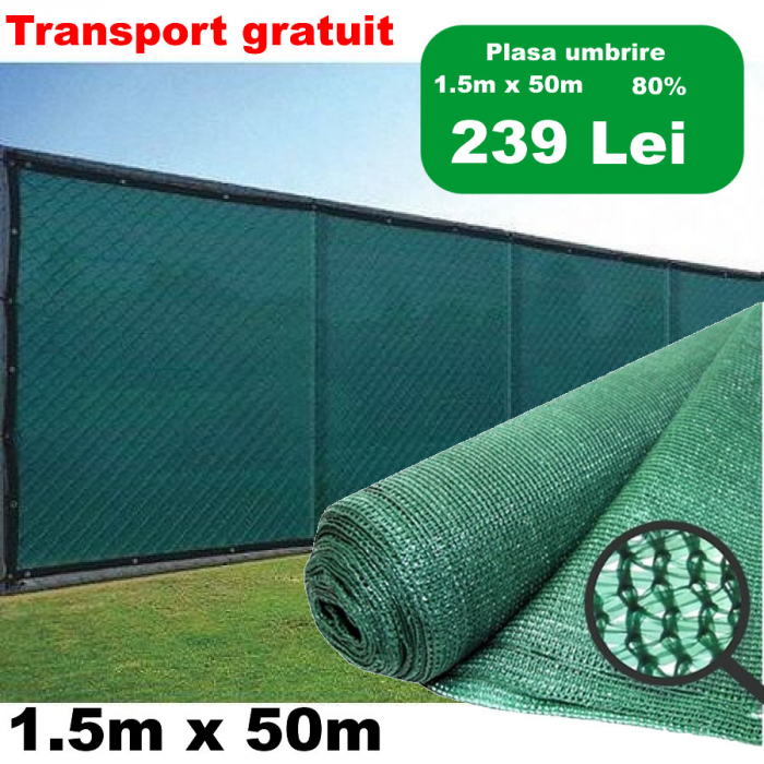 Plasa umbrire 1,5mx50m 80g TOP, tesuta din fire de HDPE, stabilizate UV, 80grame/mp [0]