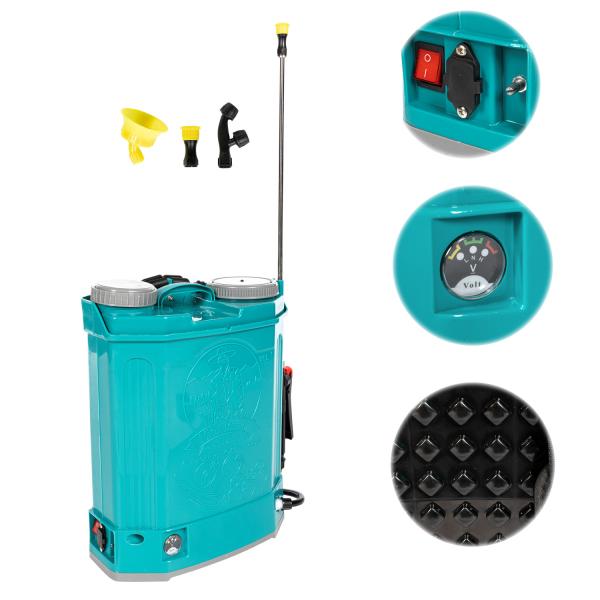 Pompa stropit electrica Pandora 16 Litri, 5 Bar,  + regulator presiune, vermorel cu baterie acumulator [1]