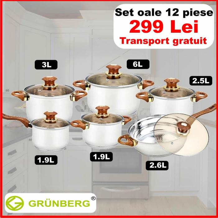Set 6 oale inox + 6 capace sticla termorezistenta cu baza in 6 straturi [0]