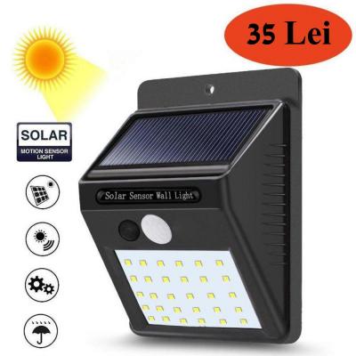 Lampa solara de perete cu senzor de miscare si lumina cu 30 leduri [0]