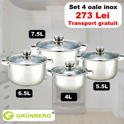Set 4 cratite din inox cu 4 capace din sticla, Grunberg GR1056 [0]