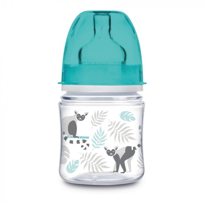 """Biberon anticolici gat larg, Canpol babies®, polipropilena, 120 ml, """"Jungle"""", bleu 0"""
