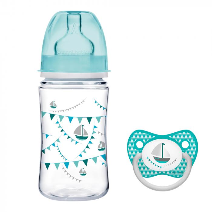 """Biberon anticolici gat larg, Canpol babies®, polipropilena, 240 ml, """"Let's Celebrate"""", bleu, CADOU suzeta 0"""