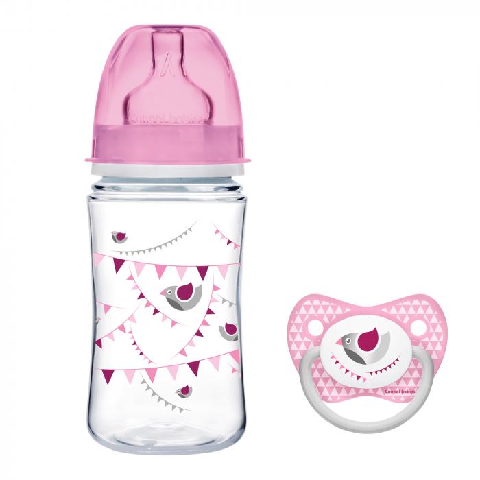 "Biberon anticolici gat larg, Canpol babies®, polipropilena, 240 ml, ""Let's Celebrate"", roz, CADOU suzeta 0"