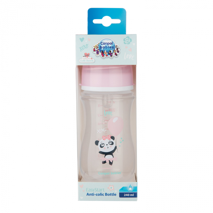 "Biberon anticolici gat larg, Canpol babies®, polipropilena, 240 ml, ""Toys"", roz [1]"